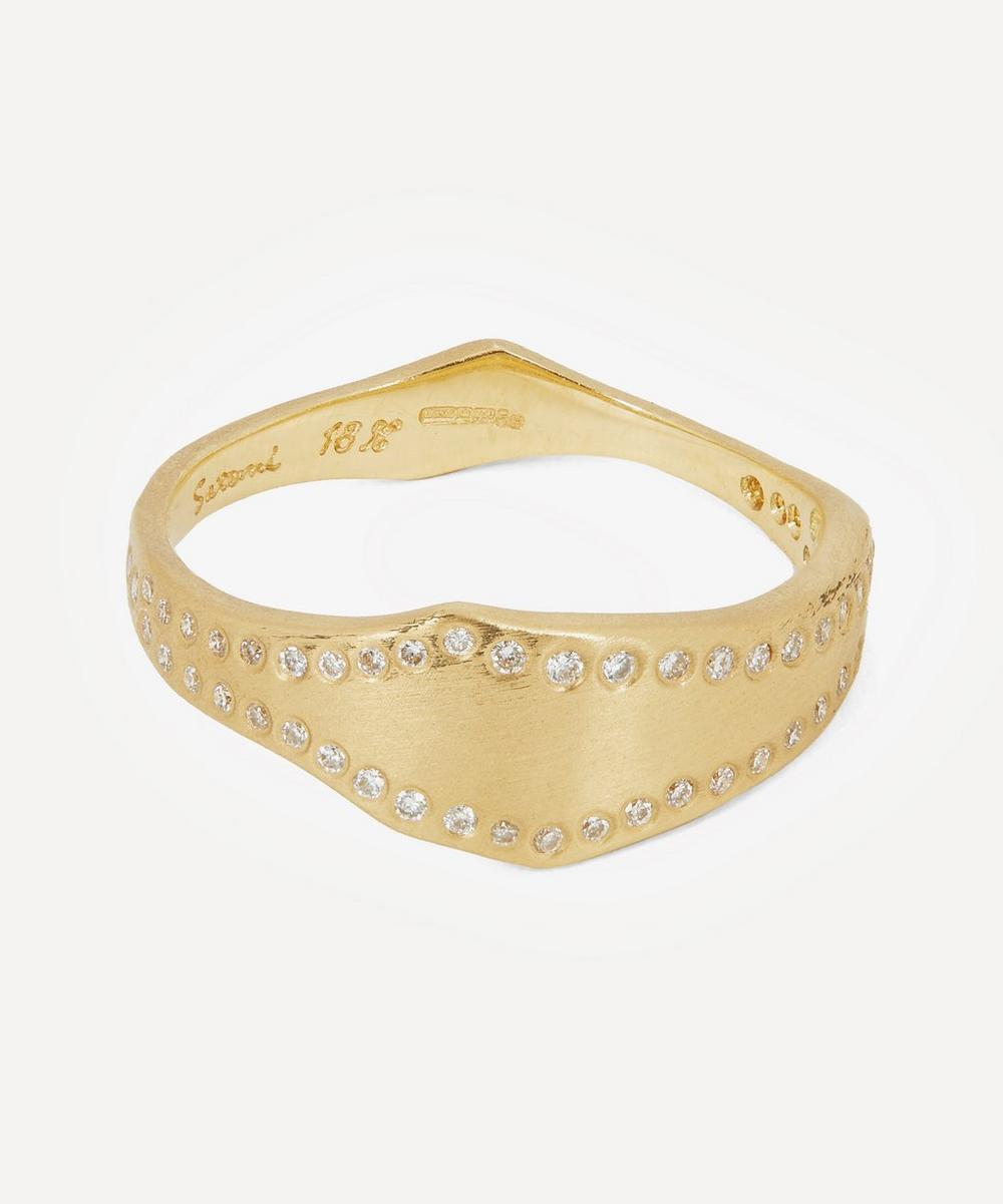 Satomi Kawakita - Gold White Diamond Wave Band Ring