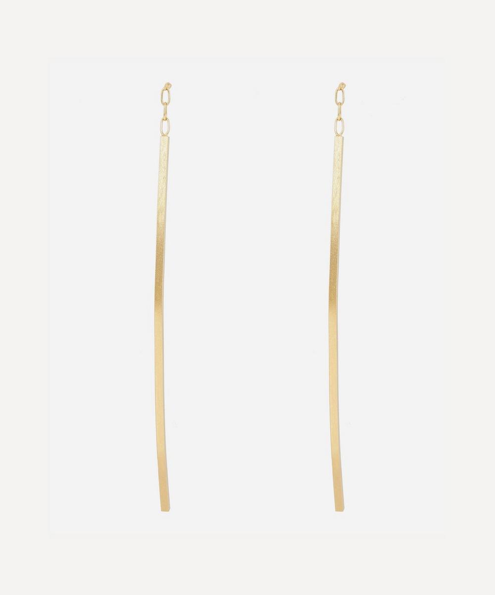 Satomi Kawakita - Gold Linear Curve Drop Earrings