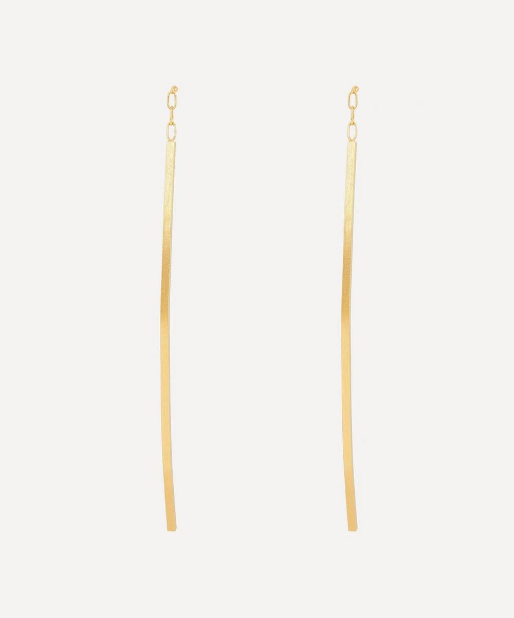 Satomi Kawakita - Gold Linear Curve Drop Earrings