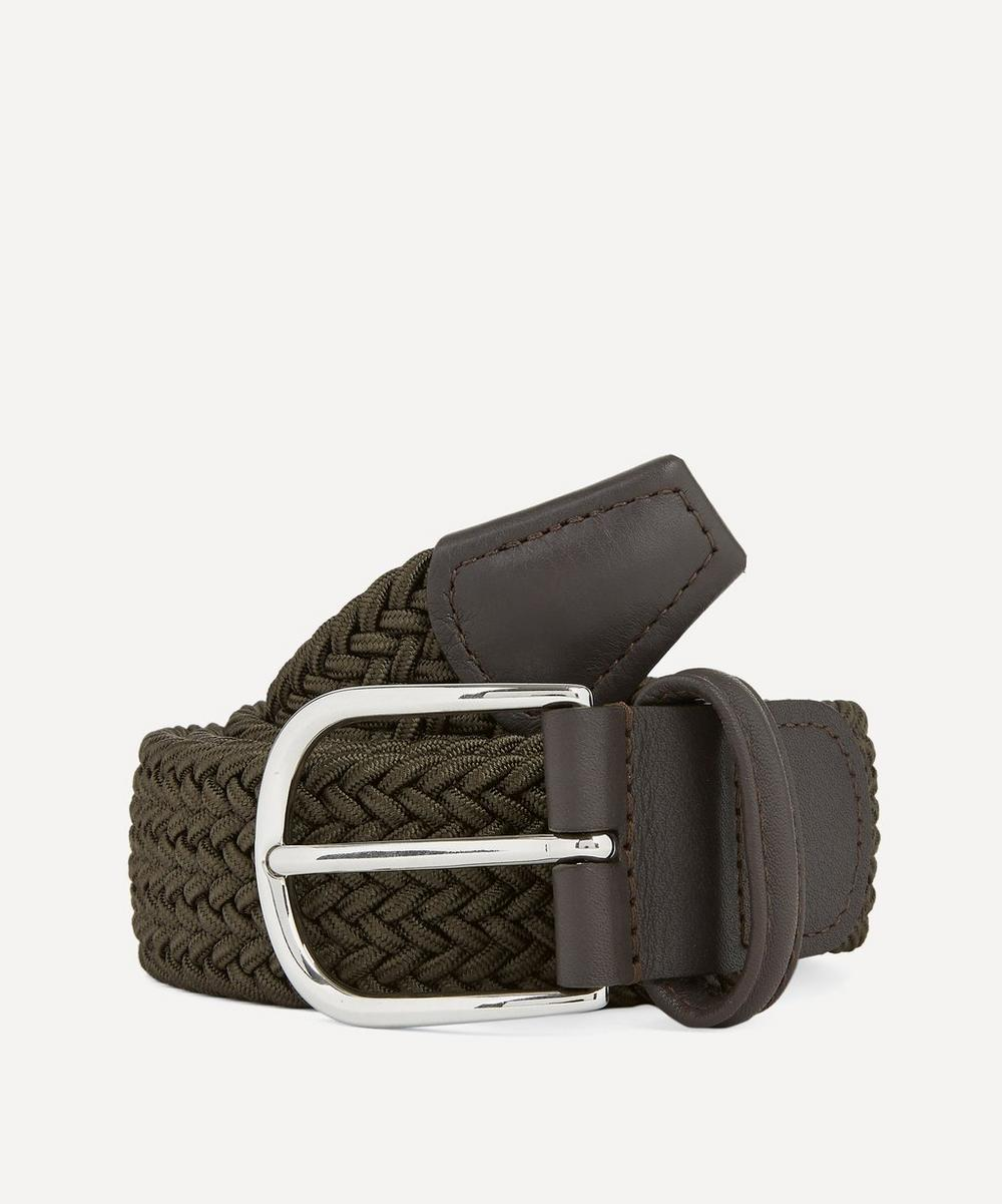 Anderson's - Leather-Trimmed Elasticated Woven Belt