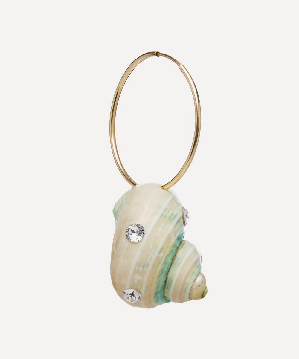 WALD Berlin - Gold-Plated Paris Paris Crystal Shell Hoop Earring