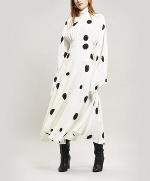 Polka Dot Scribble High-Neck Dress