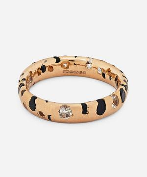 Rose Gold Black and White Sapphire Confetti Ring