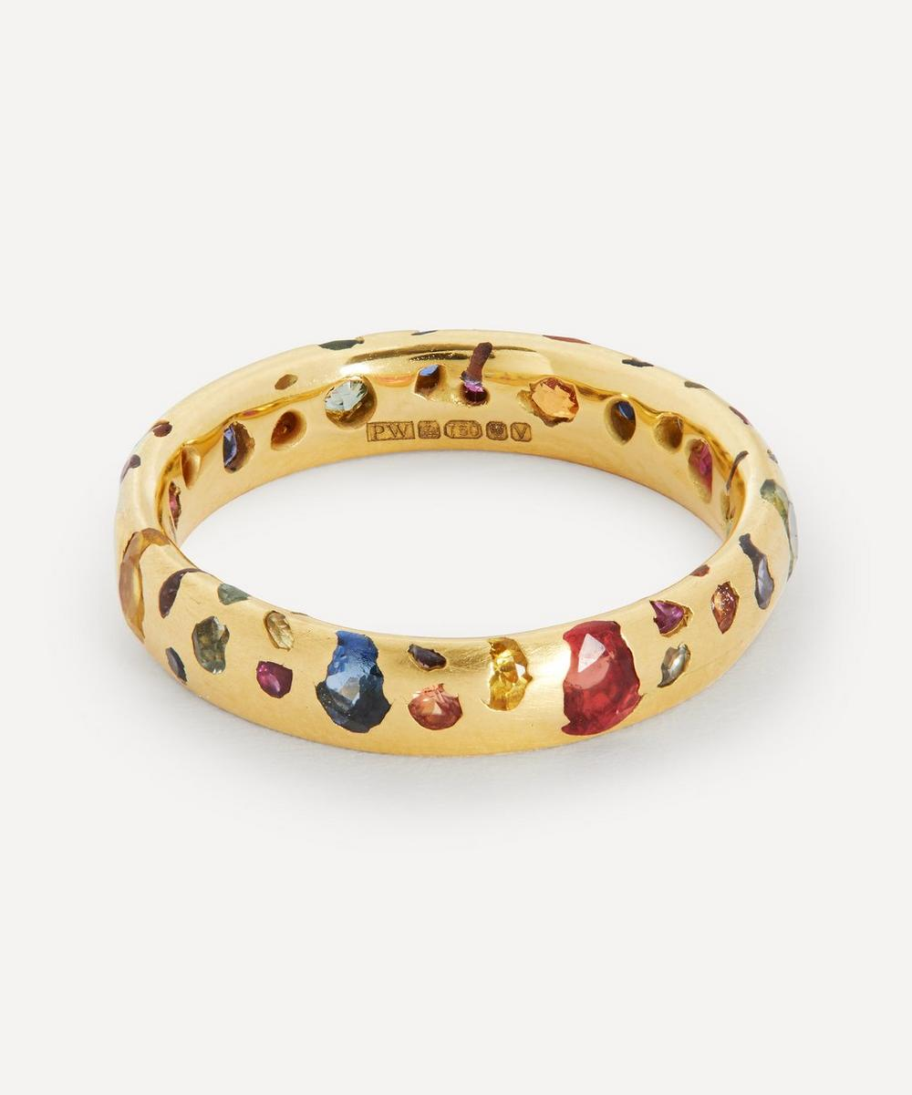 Polly Wales - Gold Rainbow Sapphire Confetti Ring