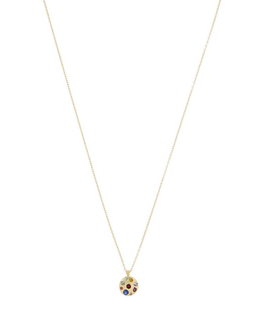 Polly Wales - Gold Celeste Rainbow Sapphire Crystal Disc Pendant Necklace