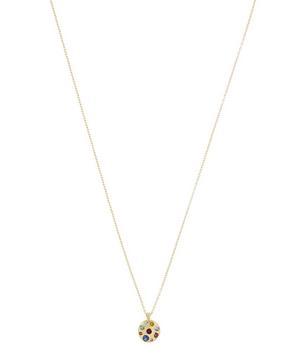 Gold Celeste Rainbow Sapphire Crystal Disc Pendant Necklace