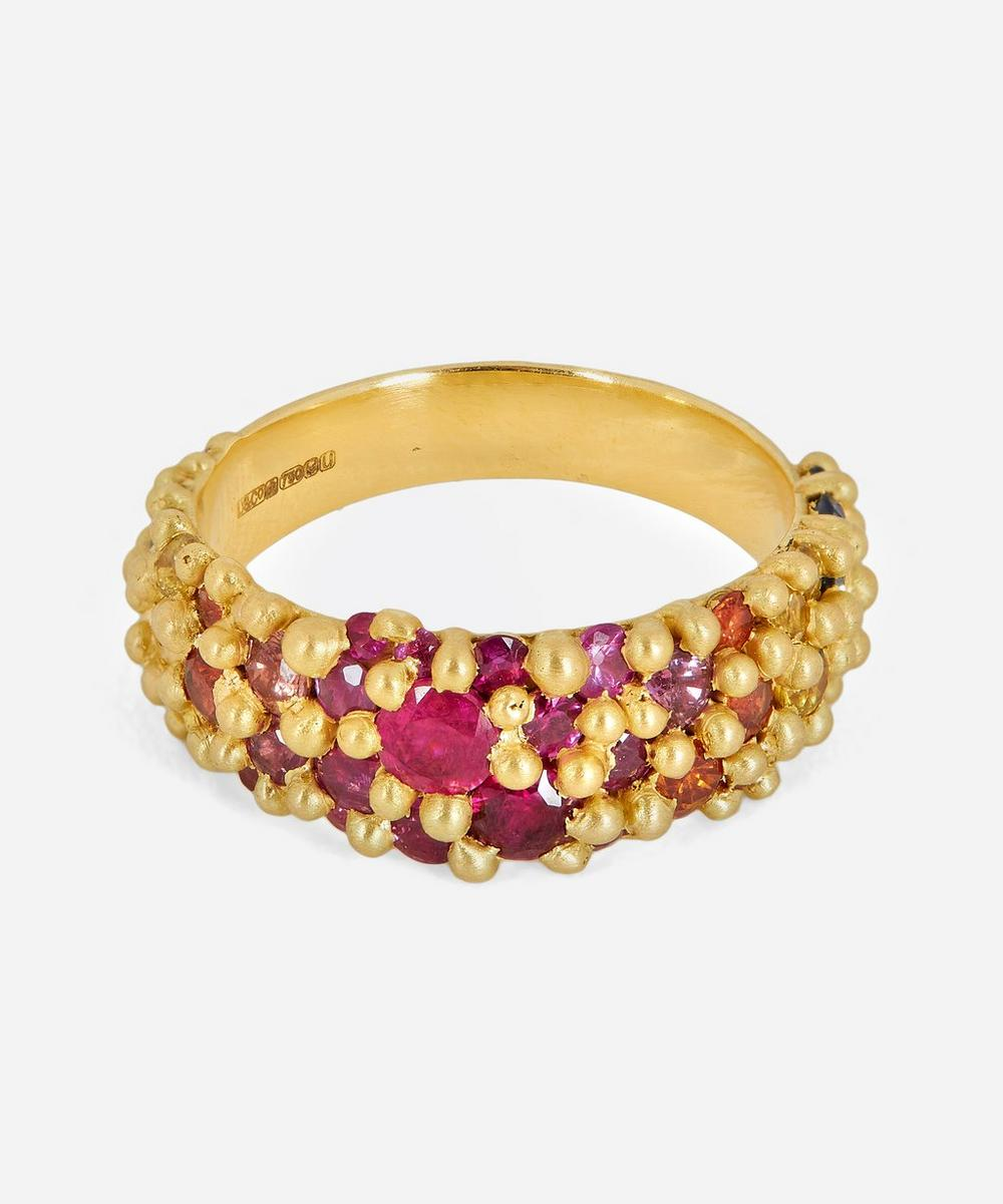 Polly Wales - Gold Rainbow Sapphire River Ring