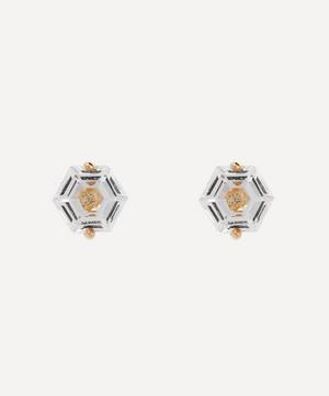 Gold Hexagon Cut White Topaz Stud Earrings