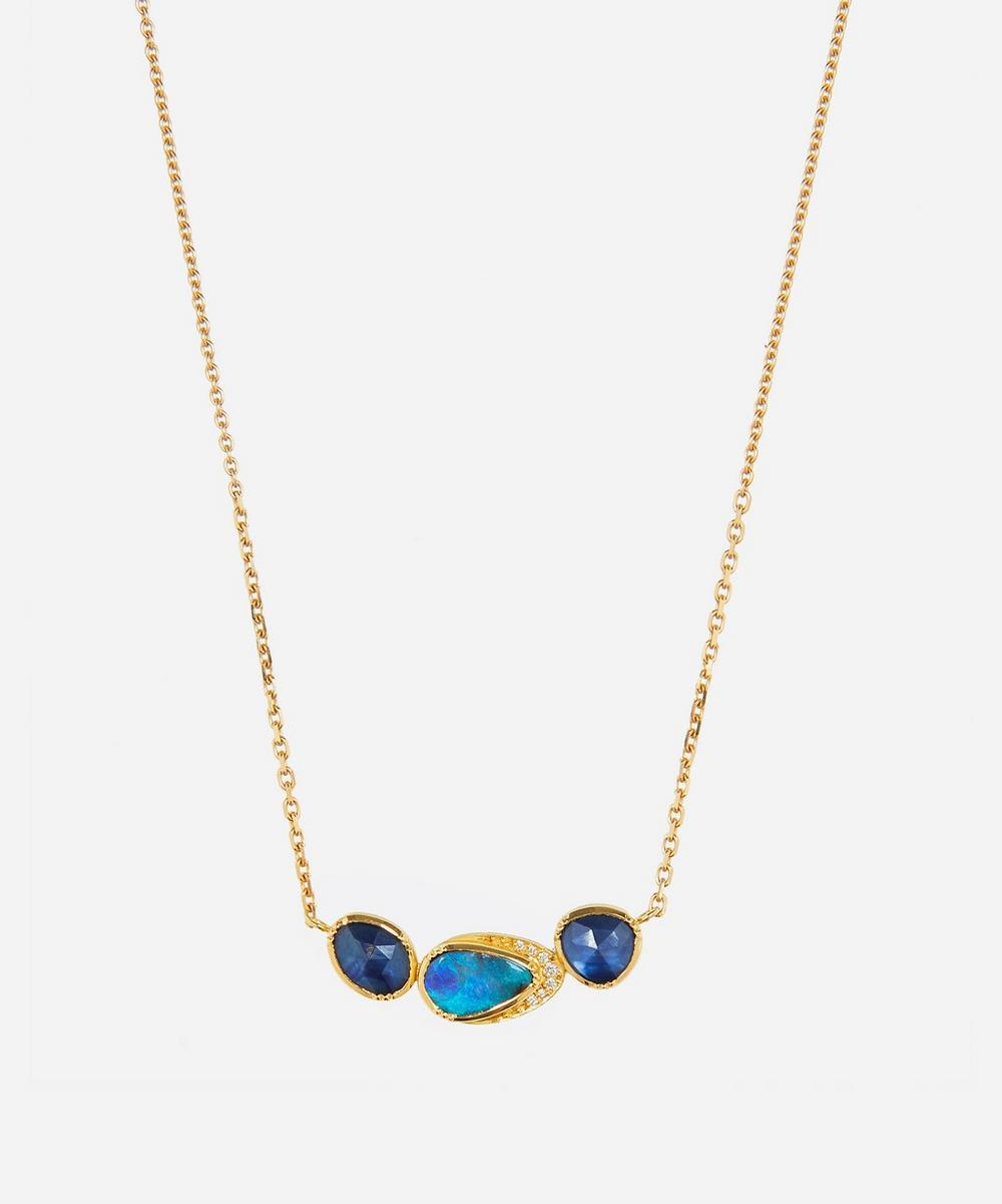 Brooke Gregson - Gold Orbit Triple Boulder Opal and Sapphire Diamond Halo Necklace