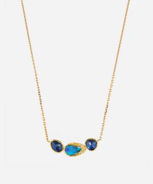 Gold Orbit Triple Boulder Opal and Sapphire Diamond Halo Necklace