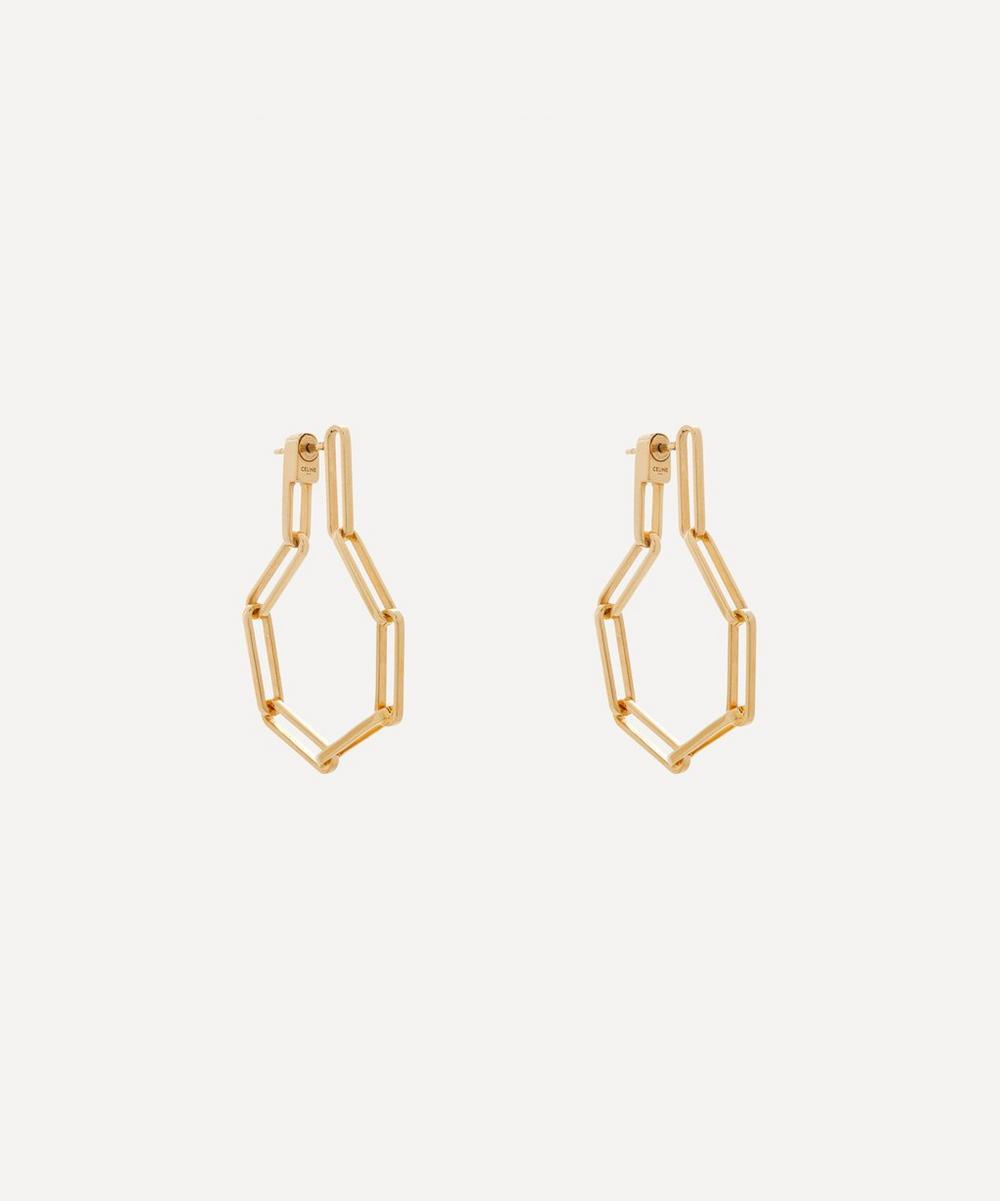 Celine - Gold Plated Vermeil Silver Chaîn Link Hoop Earrings