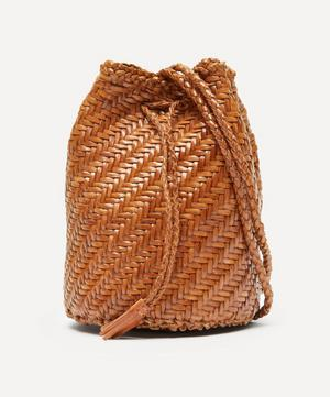 Pom Pom Double Jump Woven Leather Cross-Body Bag