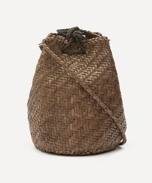Pom Pom Double Jump Woven Leather Cross-Body Bag