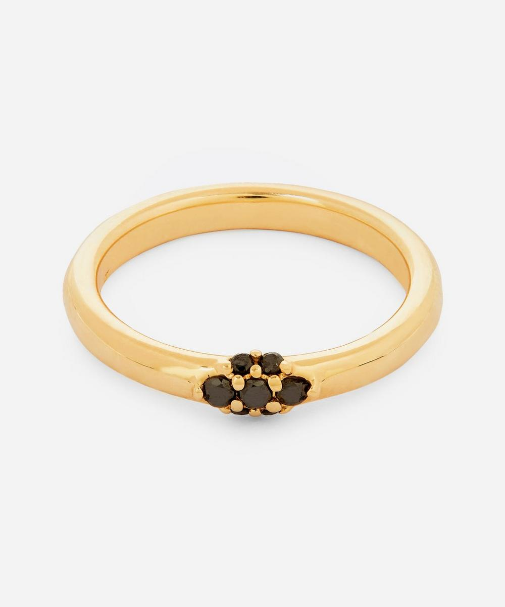 Anna Sheffield - Gold Single Cluster Celestine Black Diamond Ring