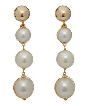 Gold-Tone Epica Faux Pearl Clip-On Drop Earrings