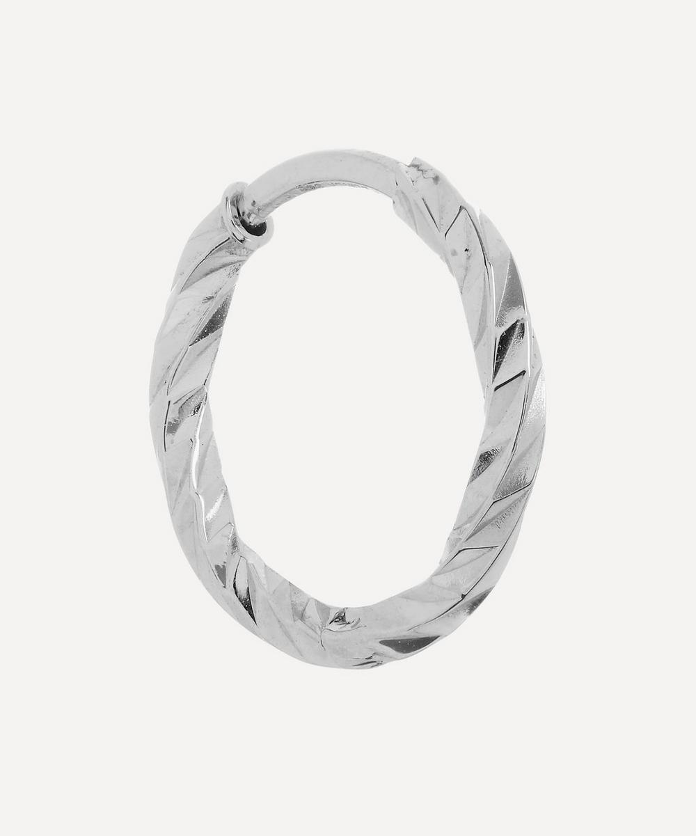 Maria Black - White Gold Diamond Cut Huggie Hoop Earring