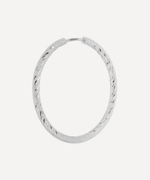 White Gold Diamond Cut Alba 25 Hoop Earring