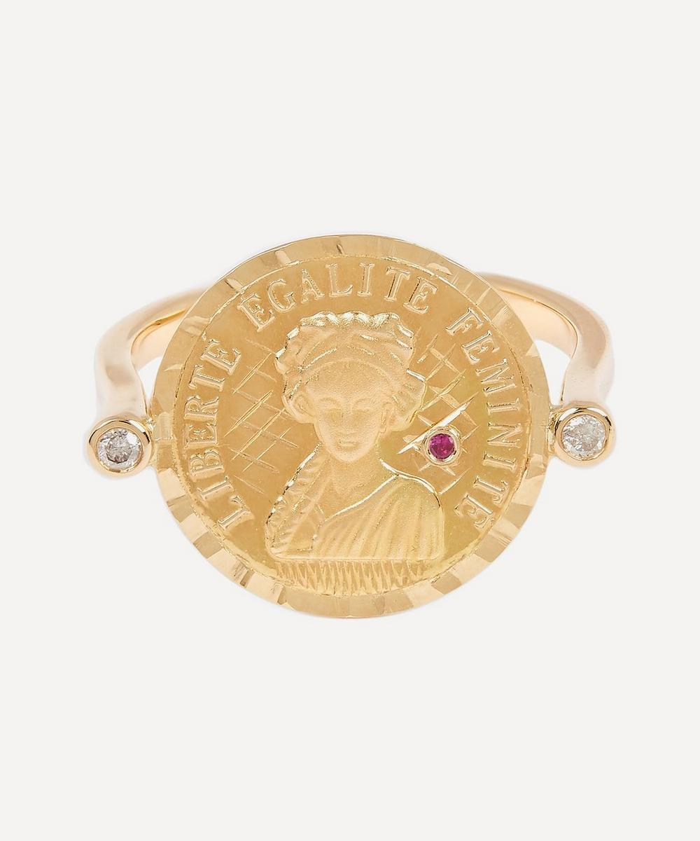Anissa Kermiche - Gold Louise d'Or Ruby Coin Ring