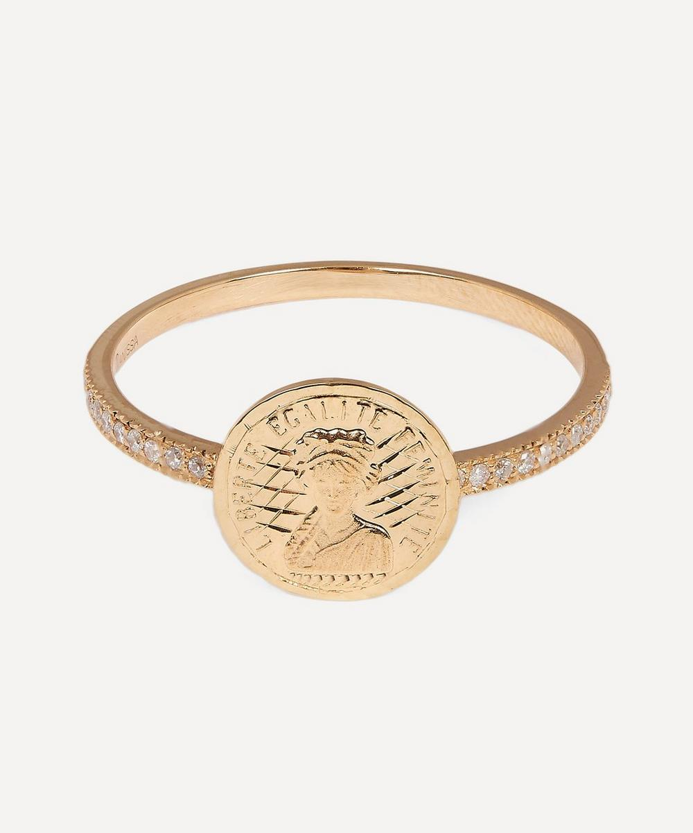 Anissa Kermiche - Gold Louise d'Or Pavé Diamond Coin Ring