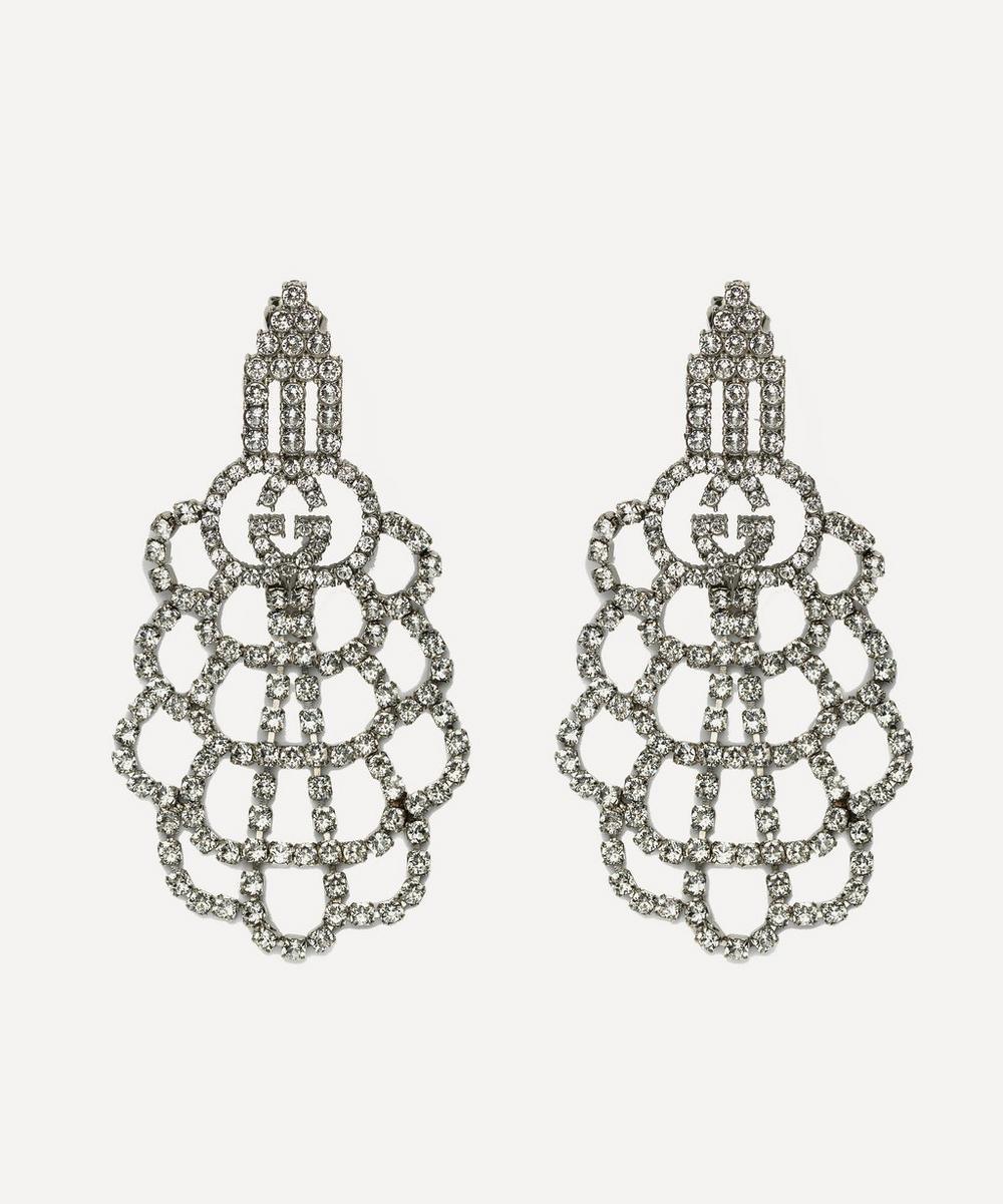 Gucci - Silver-Tone Crystal Logo Drop Earrings