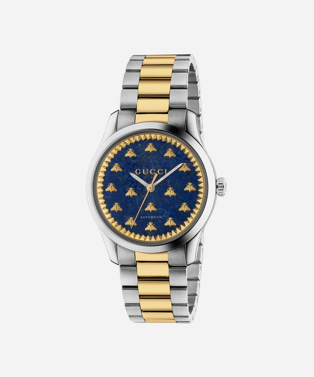 Gucci - G-Timeless Lapis and Stainless Steel Bee Motif Watch image number 0