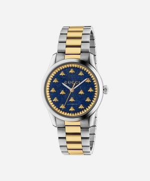 G-Timeless Lapis and Stainless Steel Bee Motif Watch