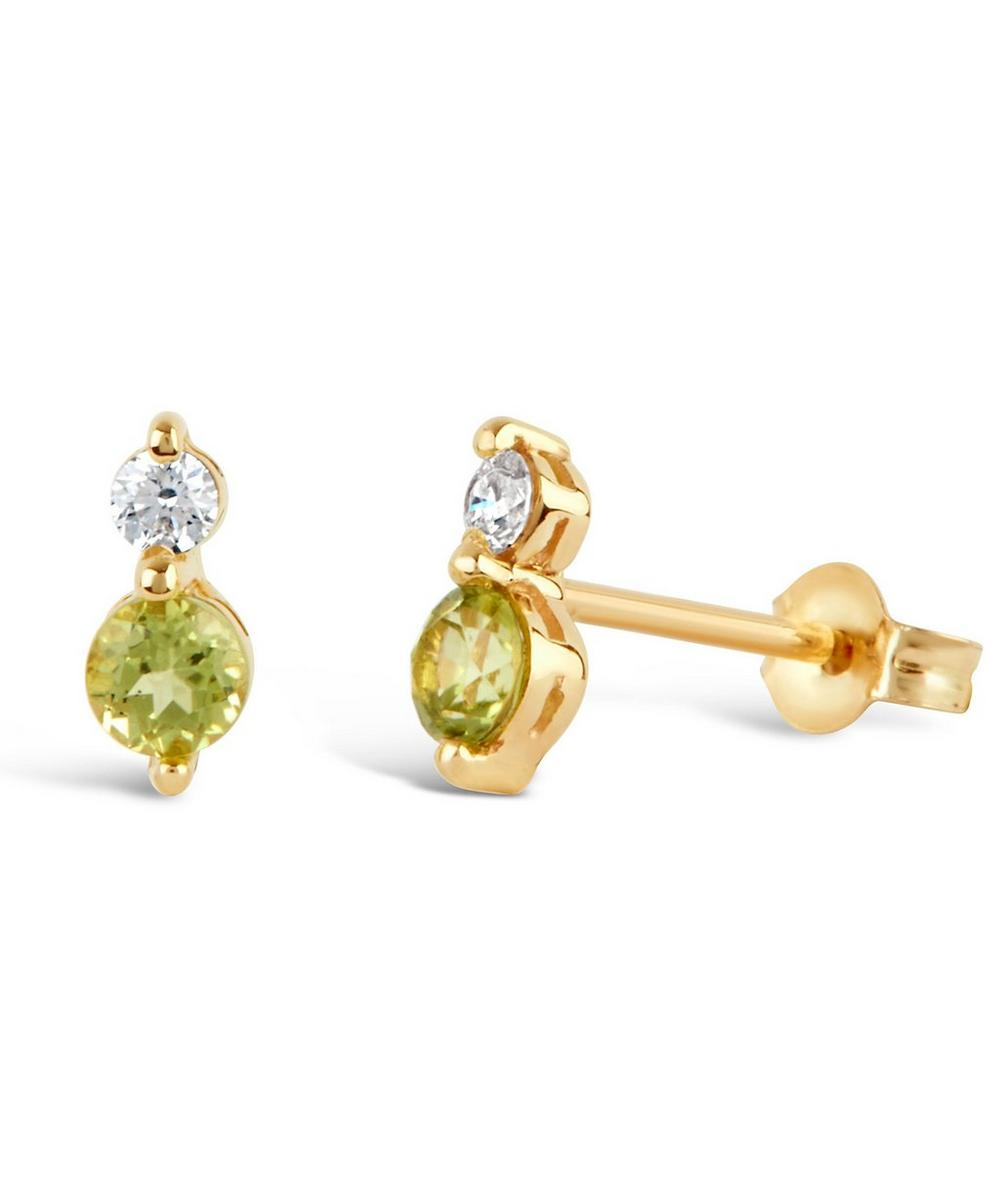 Dinny Hall - Gold Shuga Diamond and Peridot Stud Earrings