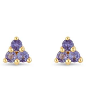Gold Shuga Tanzanite Trillion Stud Earrings