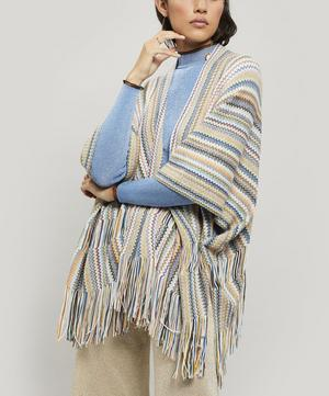 Thin Zig-Zag Stripe Knitted Wool-Blend Cape