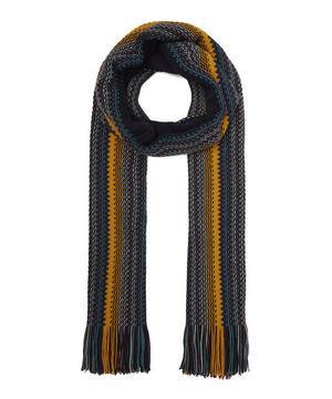 Irregular Thin Stripe Wool-Blend Scarf