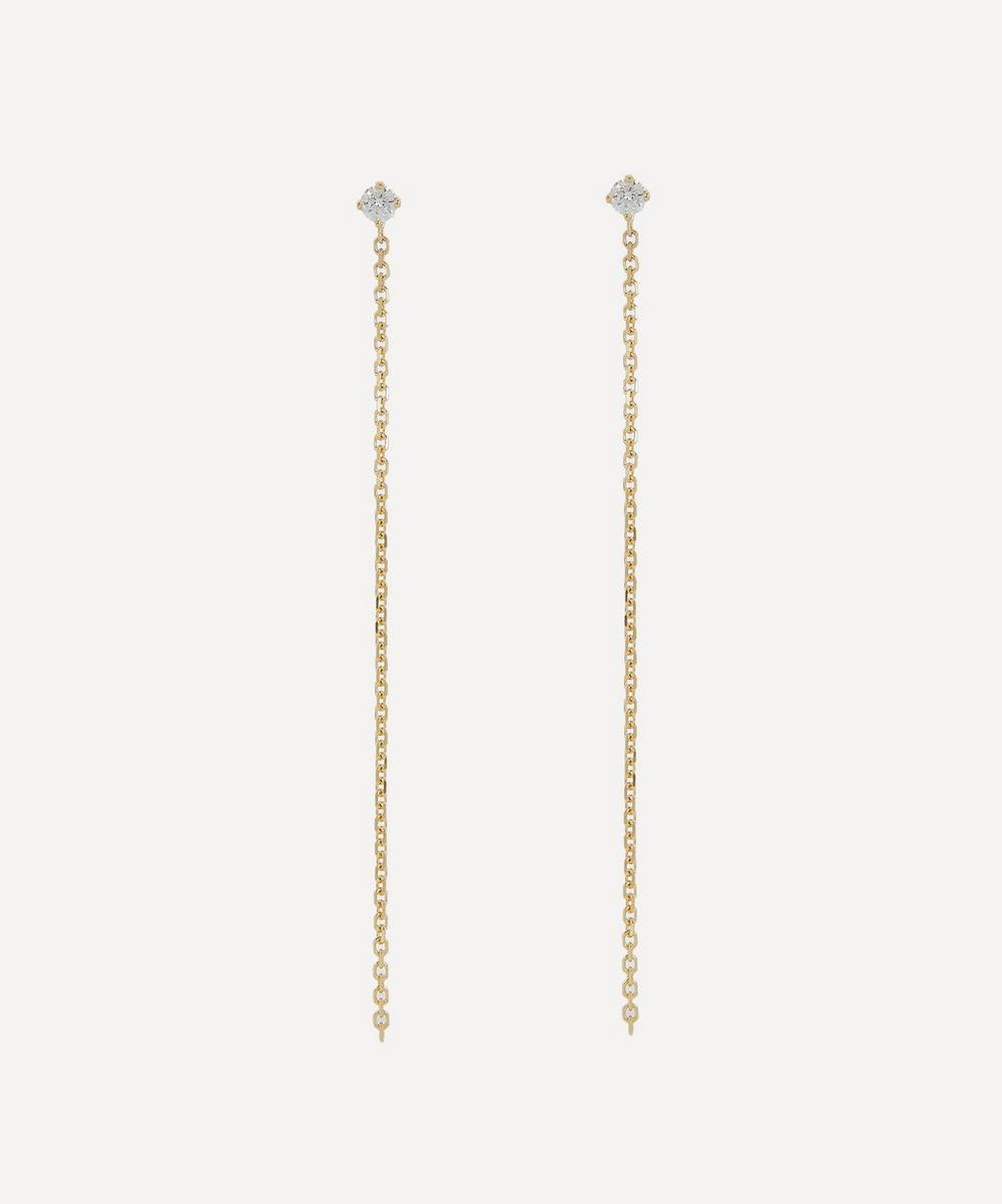 Satomi Kawakita - Gold Celestial White Diamond Chain Drop Earrings