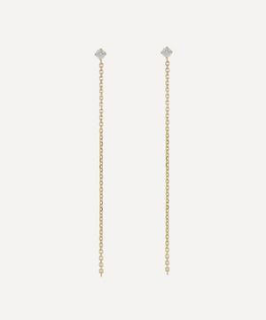 Gold Celestial White Diamond Chain Drop Earrings