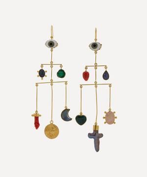 Gold-Plated Pyramid Asymmetric Multi-Stone Drop Earrings
