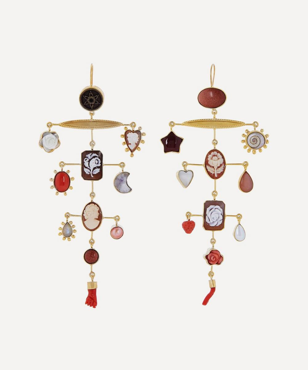 Grainne Morton - Gold-Plated Balance Asymmetric Multi-Stone Drop Earrings