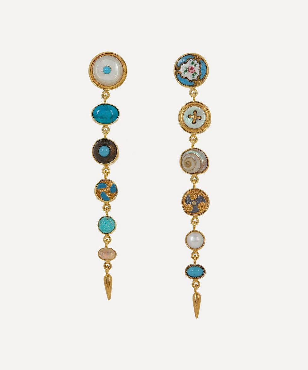 Grainne Morton - Gold-Plated Asymmetric Multi-Stone Victorian Drop Earrings