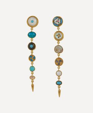 Gold-Plated Asymmetric Multi-Stone Victorian Drop Earrings