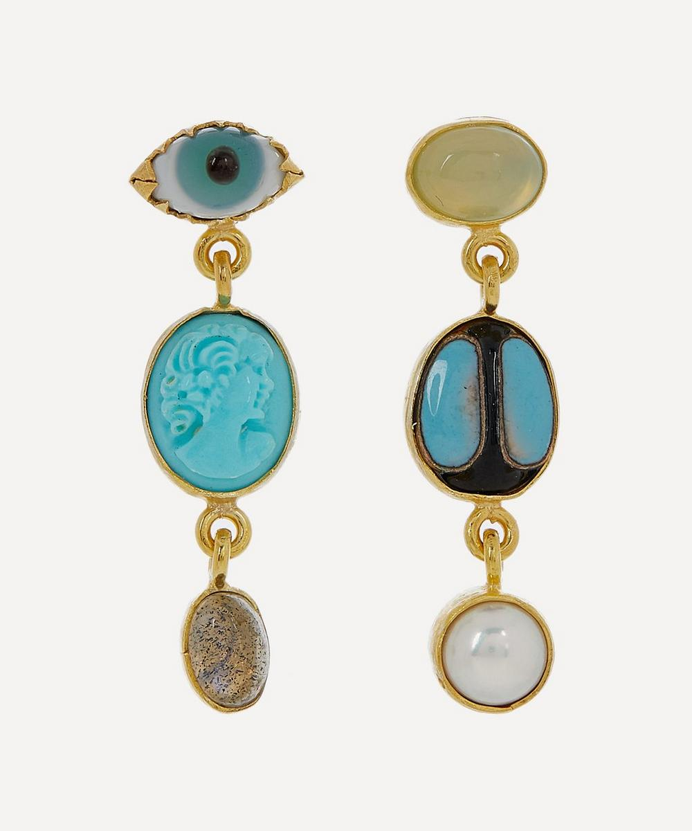 Grainne Morton - Gold-Plated Asymmetric Three Charm Drop Earrings