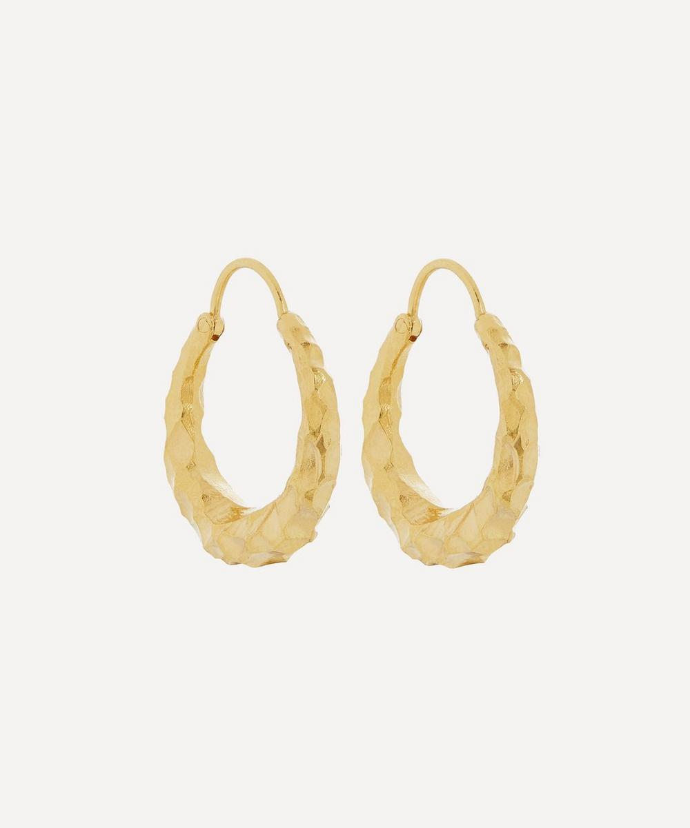 All Blues - Gold Plated Vermeil Silver Fat Baby Snake Carved Hoop Earrings