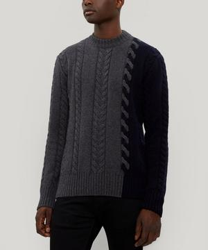 Colour Block Cable-Knit Sweater