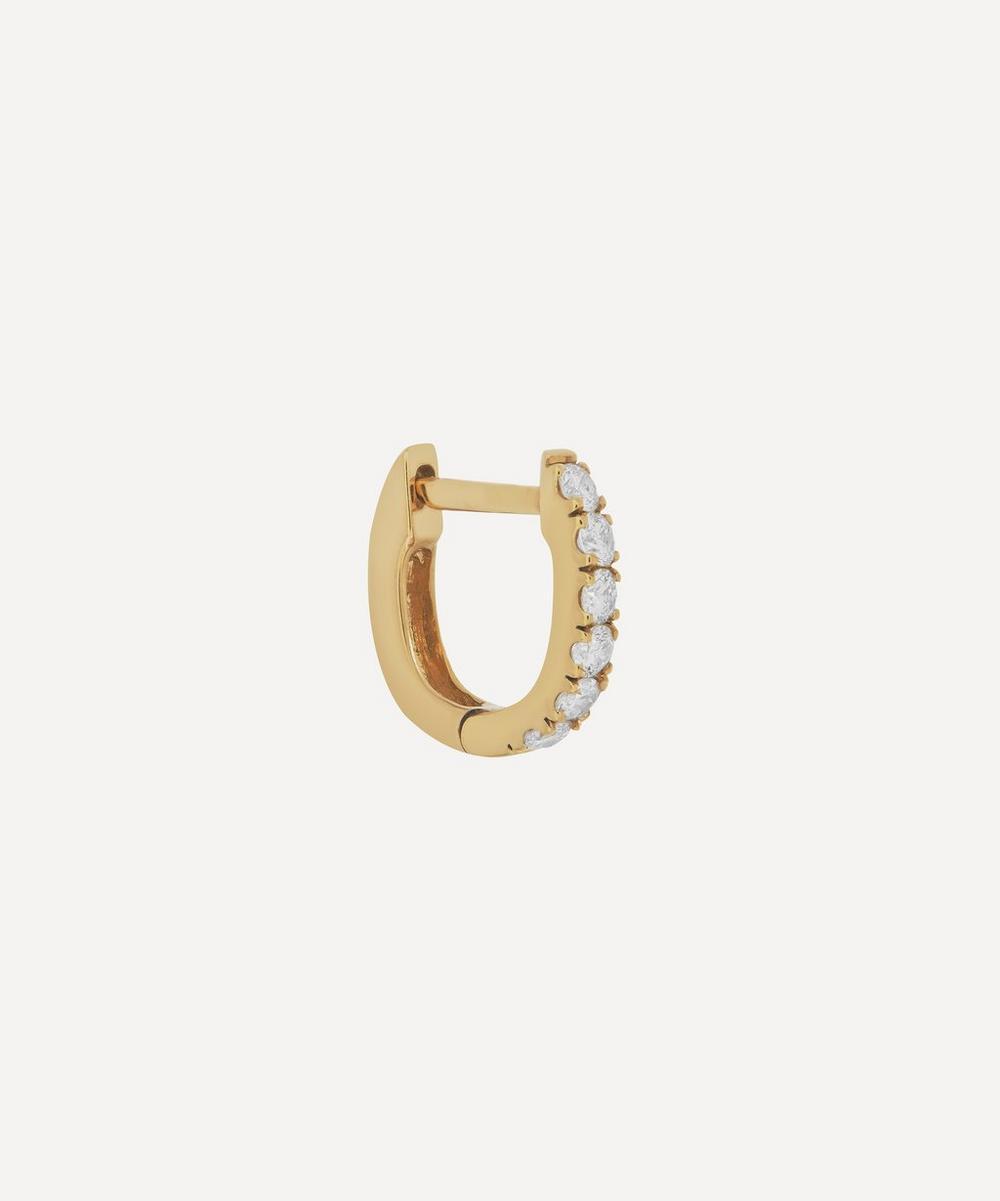 Roxanne First - Gold Mini Chubby Diamond Huggie Hoop Earring