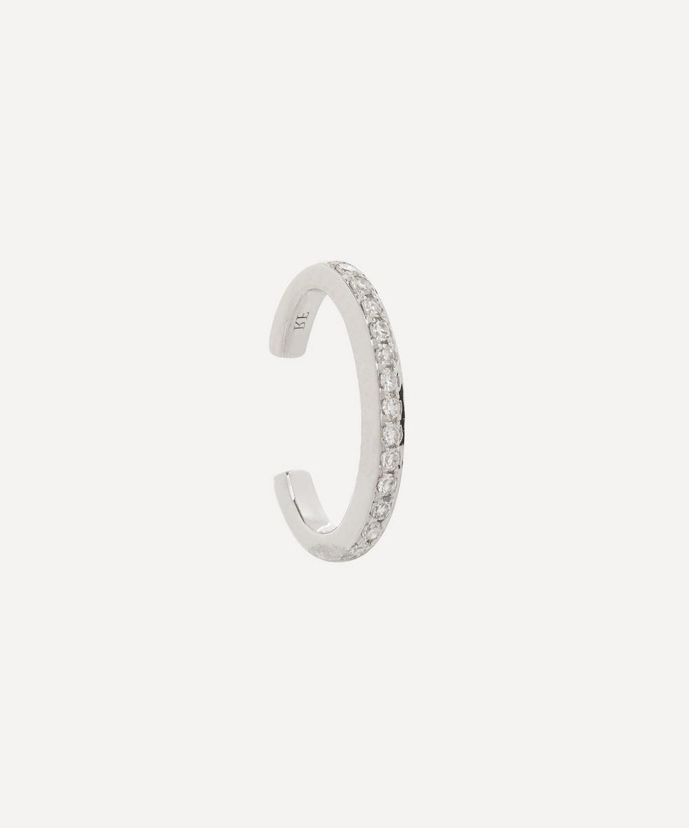 Roxanne First - White Gold Single Diamond Row Cuff Earring