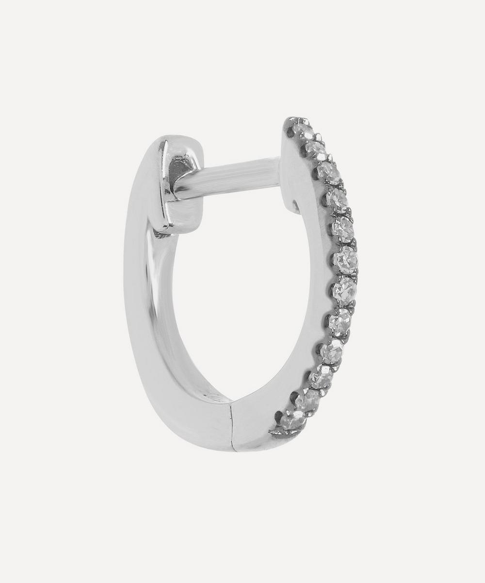 Roxanne First - White Gold Medium Skinny Diamond Huggie Single Hoop Earring
