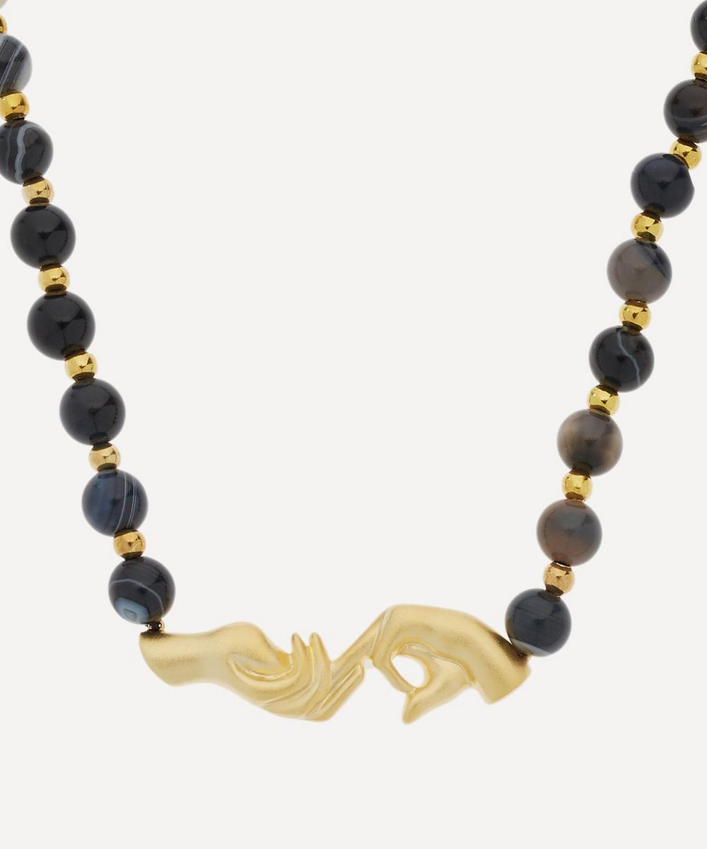 Anissa Kermiche - Gold-Plated Les Mains Onyx Agate Beaded Necklace