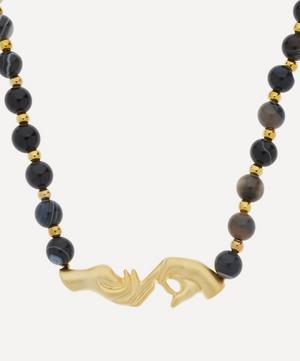 Gold-Plated Les Mains Onyx Agate Beaded Necklace