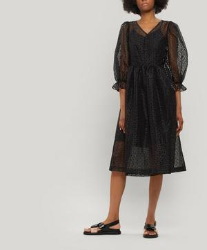 Trinity Puff-Sleeve Floral Organza Midi-Dress
