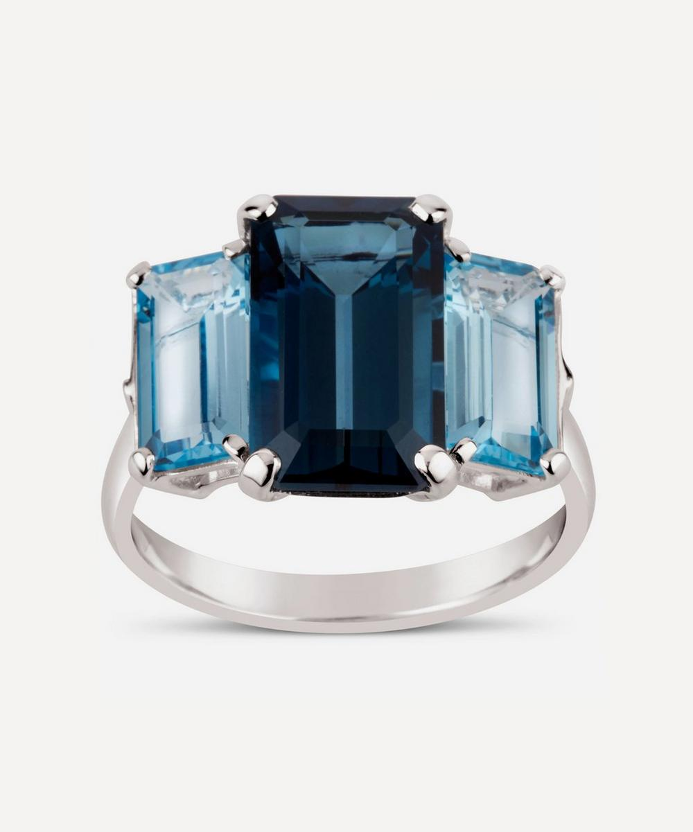 Dinny Hall - Silver Trinny Trilogy Blue Topaz Ring