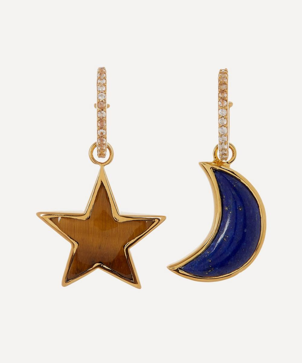 Theodora Warre - Gold-Plated Lapis Lazuli and Tiger's Eye Mismatched Moon and Star Pavé Hoop Earrings