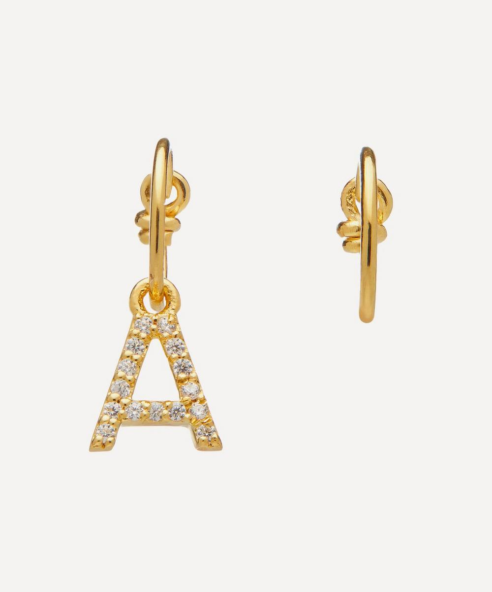 Theodora Warre - Gold-Plated Zircon Letter A Mismatched Hoop Earrings