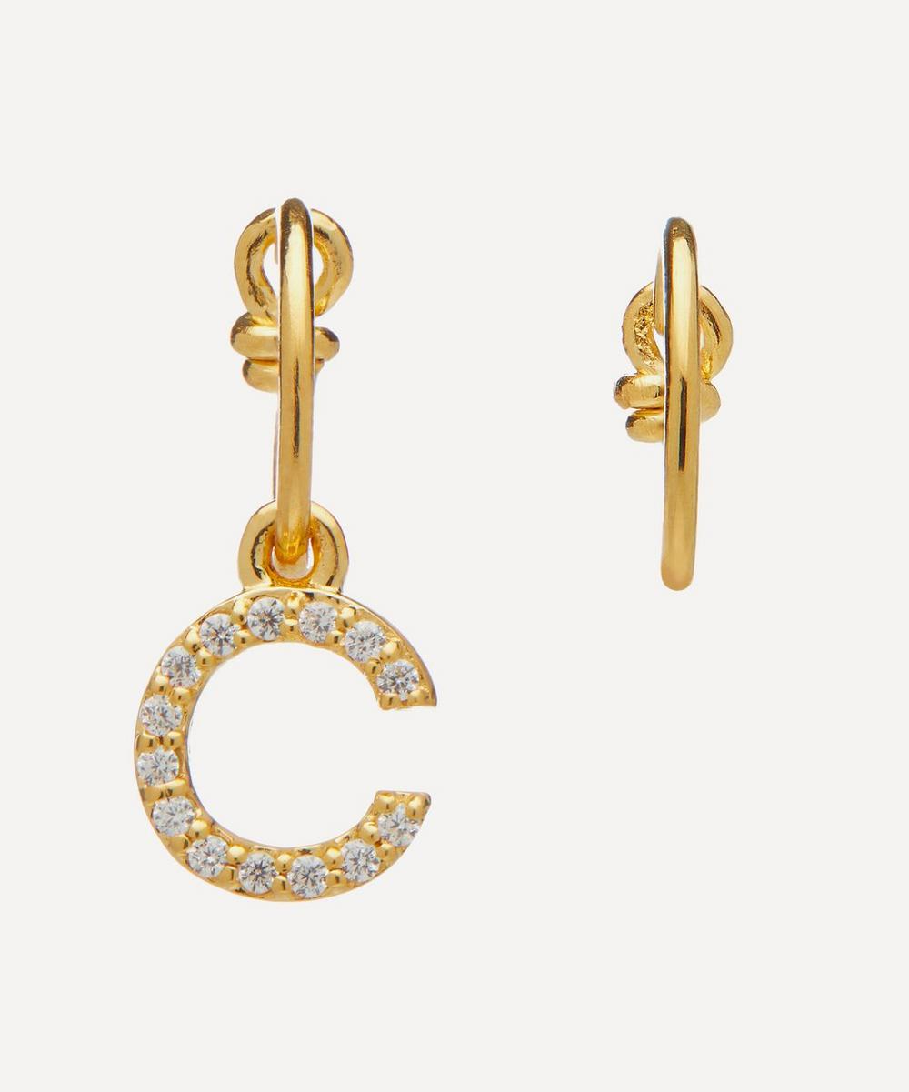 Theodora Warre - Gold-Plated Zircon Letter C Mismatched Hoop Earrings