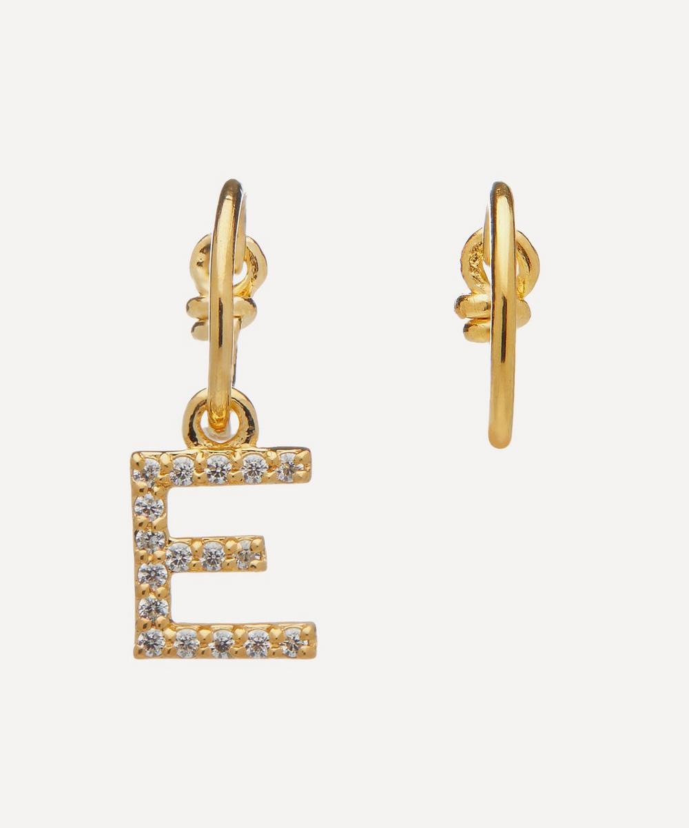 Theodora Warre - Gold-Plated Zircon Letter E Mismatched Hoop Earrings